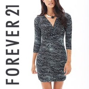 Forever 21 Knot-Front Dotted Black & Aqua Dress M